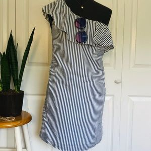 SALE! 2 for $25 Pinstripe Ruffle One ShoulderDress